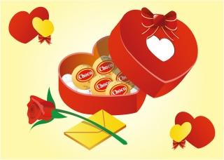 ハート型のバレンタインデー ギフト Heart Valentine Gifts Vector イラスト素材