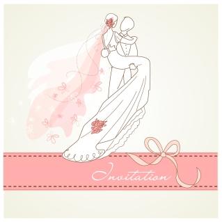 新郎新婦と結婚式の招待状 Wedding invitations with bride and groom イラスト素材2