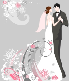 結婚式の招待状向け花嫁のイラスト bride illustrations with floral ornaments for wedding invitation cards イラスト素材1