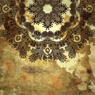 カラフルな植物柄を汚した背景 grunge floral ornament backgrounds with some colorful patterns イラスト素材4