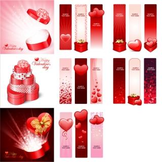 ハート基調の素材・背景 Heart practical elements valentine day イラスト素材