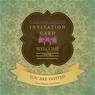 飾りフレームの招待状テンプレート vintage invitation card templates and decorative frames イラスト素材1