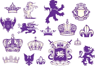 王室の紋章のデザイン要素 Royal heraldic design elements イラスト素材