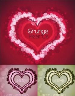 バレンタインデーデザイン向け ぼかしたハート型のフォトショップ用ブラシ hearts brushes for Photoshop in bokeh style for your Valentines day designs