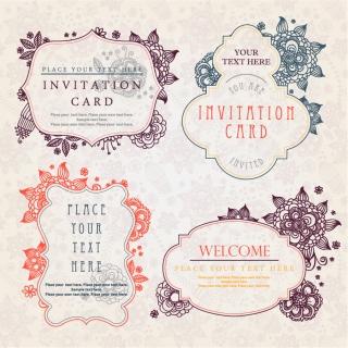 飾りフレームの招待状テンプレート vintage invitation card templates and decorative frames イラスト素材4