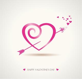 ハートを矢で射るロマンチックなバレンタインデー素材 Heart romantic valentine day graphics イラスト素材2