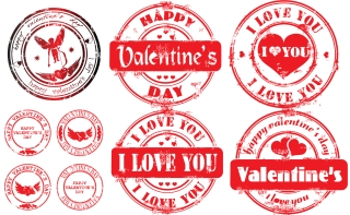 愛のバレンタインデー スタンプ valentine seal of love vector イラスト素材