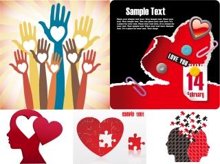 ハートでデザインしたクリエイティブ素材 Heart valentine day creative element イラスト素材