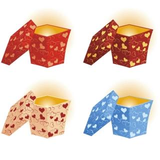 バレンタインデー用のギフトボックス Valentines day gift boxes with hearts イラスト素材