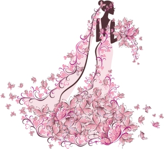 結婚式の招待状向け花嫁のイラスト bride illustrations with floral ornaments for wedding invitation cards イラスト素材5