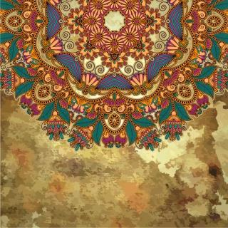 カラフルな植物柄を汚した背景 grunge floral ornament backgrounds with some colorful patterns イラスト素材