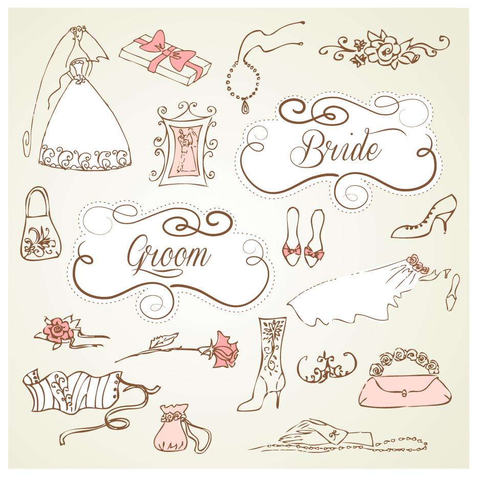 結婚式の招待状を飾るデザイン要素 decorative wedding design