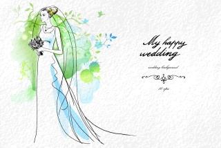 新郎新婦と結婚式の招待状 Wedding invitations with bride and groom イラスト素材3