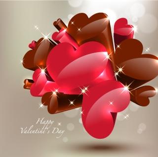 立体的なバレンタインデーのハート Happy Valentine's Day Heart イラスト素材