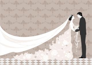 新郎新婦と結婚式の招待状 Wedding invitations with bride and groom イラスト素材5