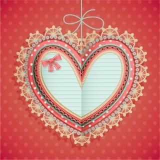 飾り付けたバレンタインデーのハート型 タグ VALENTINE'S DAY HEART-SHAPED TAG イラスト素材