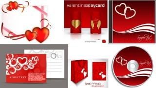 ロマンチックなバレンタインデーの素材 Heart romantic valentine day elements イラスト素材