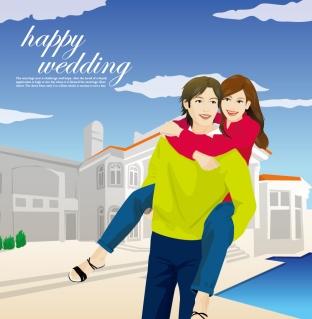 愛に包まれた幸せなカップル Big Love, Happy Couple イラスト素材
