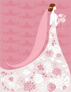 結婚式の招待状向け花嫁のイラスト bride illustrations with floral ornaments for wedding invitation cards イラスト素材2