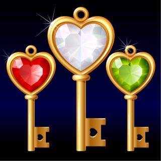 金とダイヤのハート型鍵 gold diamond heartshaped key vector イラスト素材
