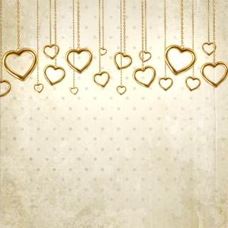 ハート型ペンダントのバレンタインデー背景 Valentine's Day heart-shaped pendants background イラスト素材