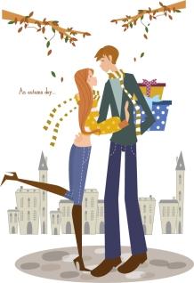ショッピングを楽しむカップル Couple enjoy shopping イラスト素材