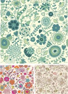 手描き風の春の花柄パターン spring patterns in hand drawn style with some flowers イラスト素材