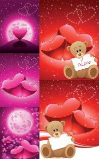 バレンタインデー クマとハートの背景 romantic Valentine's Day bears background イラスト素材