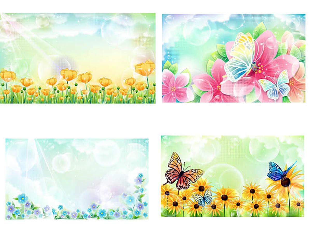春のポスター背景用 花のイラスト floral illustrations for spring