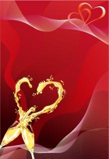 乾杯したシャンパンでハート型飛沫のバレンタインデー背景 heart-shaped splash glass of champagne イラスト素材