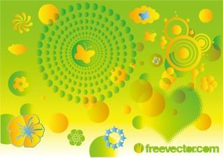 春の自然をイメージした背景 Cool spring vector graphics for your nature design イラスト素材