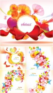 抽象的な春模様の背景 5 vector spring abstract backgrounds