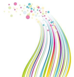 滑らかな曲線とドットで描く背景Colorful Lines and Dots Vector Background イラスト素材