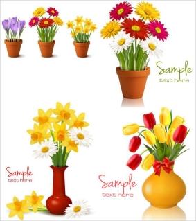 花瓶・鉢植えの花のクリップアート tulips in pot clip art and illustrations イラスト素材