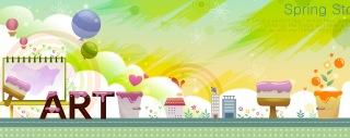 可愛い春のイメージのバナー Cute cartoon rainbow houses spring banners イラスト素材