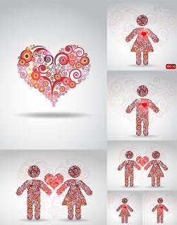 サークルで愛を表現したイラスト CIRCLE PATTERN COMPOSED OF LOVE VECTOR イラスト素材