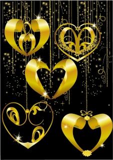 金のハート型ペンダント GOLD HEART-SHAPED PENDANT イラスト素材