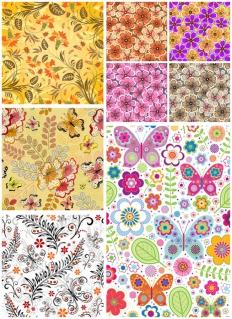 春の植物と蝶の背景 spring floral patterns with colorful flowers and ornaments イラスト素材