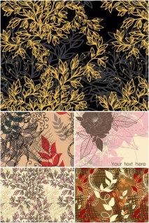 落ち着いた雰囲気の植物柄の背景 floral backgrounds for your spring and nature related designs イラスト素材