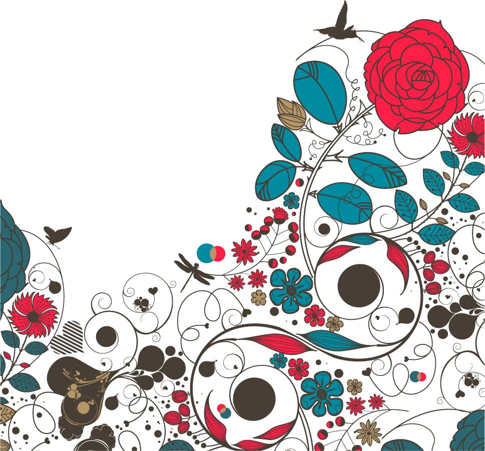 鳥と昆虫が遊ぶ植物柄背景 floral flower vector background イラスト