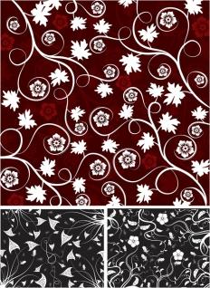 ダーク調の渦巻く植物パターンの背景 dark floral patterns with swirls and flowers イラスト素材
