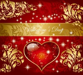 ヨーロッパ調のバレンタインデー背景 Happy Valentine's Day European-style background イラスト素材1
