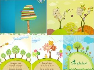 春らしい樹木で描く背景 spring abstract backgrounds with trees イラスト素材