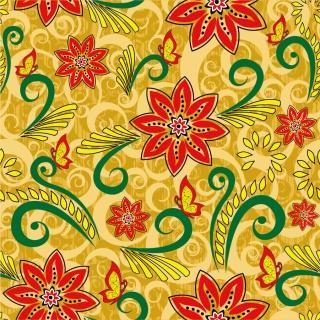 レトロな花柄のシームレス パターン Retro Floral Seamless Pattern イラスト素材
