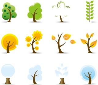 漫画タッチの樹木のイラスト nice cartoon-style vector trees for your spring designs イラスト素材