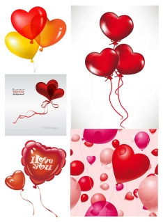 ロマンチックなハート型の風船 ROMANTIC HEART-SHAPED BALLOONS イラスト素材