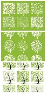 春をイメージした緑の樹木 24 vector green spring trees イラスト素材