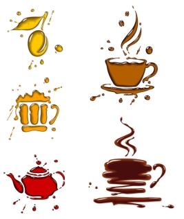 光沢ある滴で描いた飲み物アイコン glossy logotypes with drops for coffee designs イラスト素材