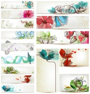 手書きの花で飾られたバナー decorative floral banners designs with hand drawn flower イラスト素材