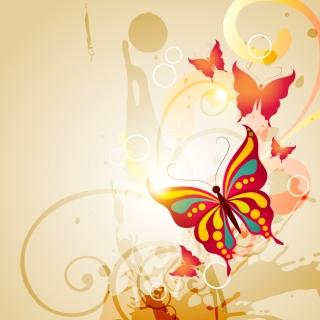 蝶と輝く曲線の背景 butterflies pattern dynamic flow line vector イラスト素材